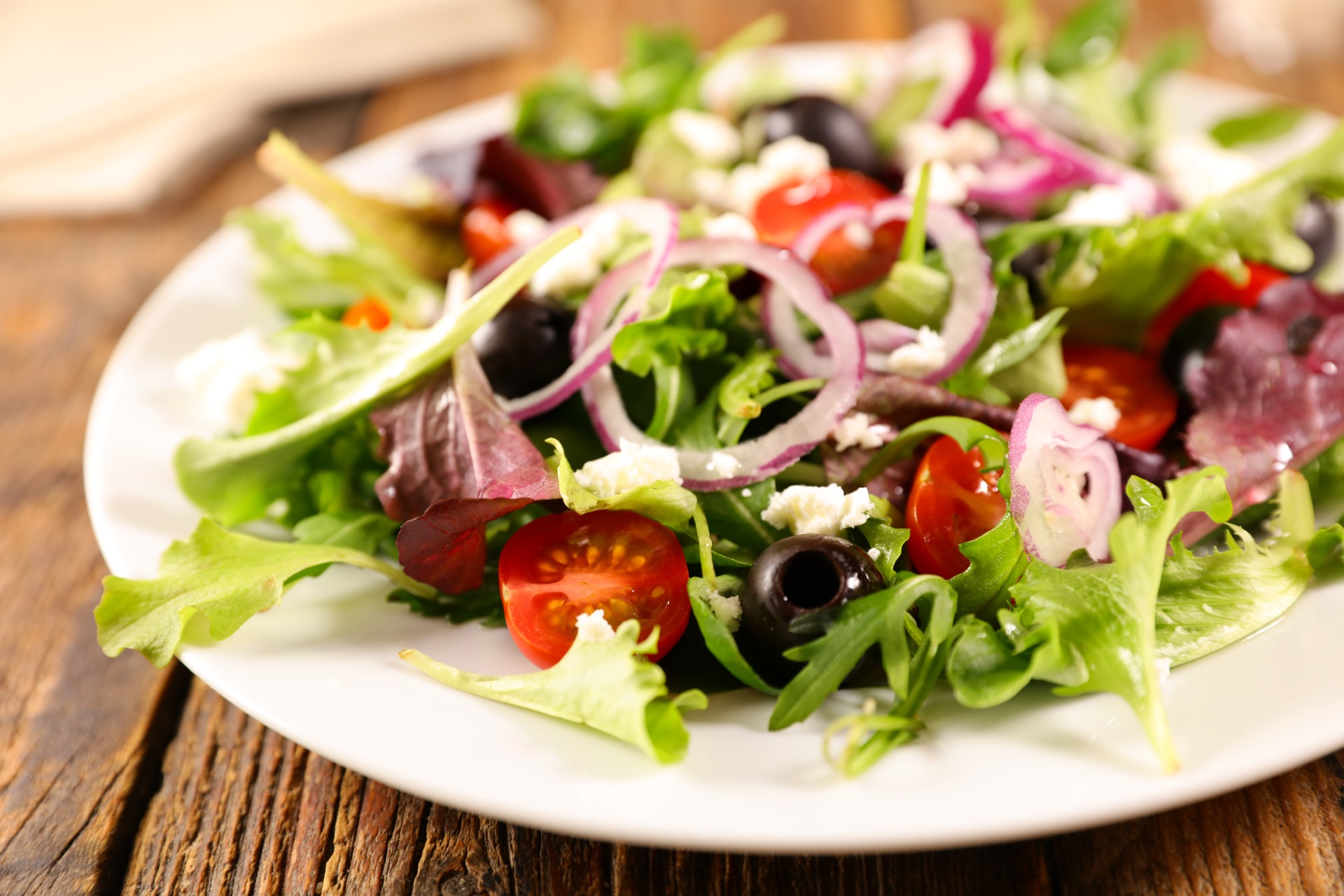 Healthy soft salad with many vegetables